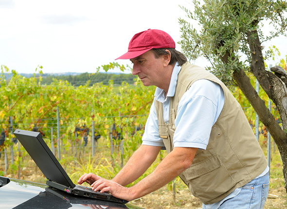 Ein Landwirt mit Laptop am Feld