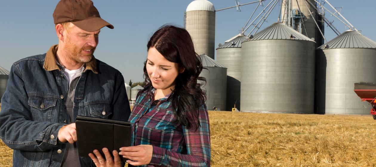 Zwei Landwirte auf dem Feld mit Tablet