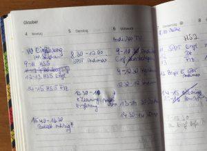 Meine erste Uni-Woche im Original! Lernt daraus und verwendet Kalender-Apps